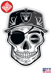 Las Vegas Raiders Football Skull Hat Die Cut Vinyl Decal - 4 Sticker Combo