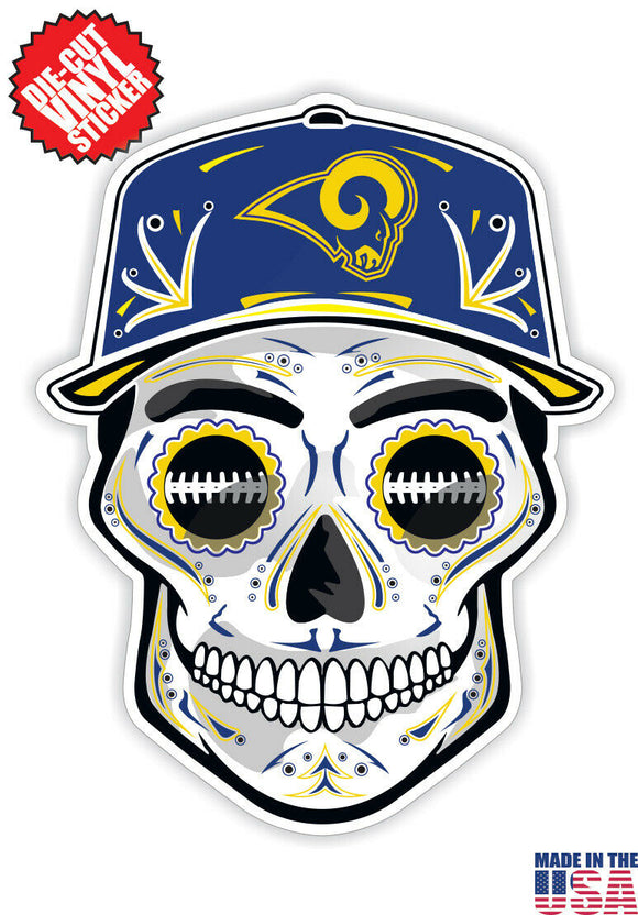 Los Angeles Rams Football Skull Hat Die Cut Vinyl Decal - 4 Sticker Combo