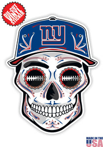 New York Giants Football Skull Hat Die Cut Vinyl Decal - 4 Sticker Combo