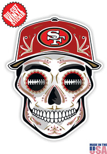San Francisco 49ers Football Skull Hat Die Cut Vinyl Decal - 4 Sticker Combo