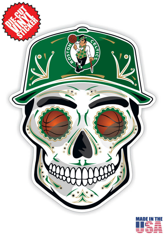 Boston Celtics Basketball Skull Hat Die Cut Vinyl Decal - 4 Sticker Combo