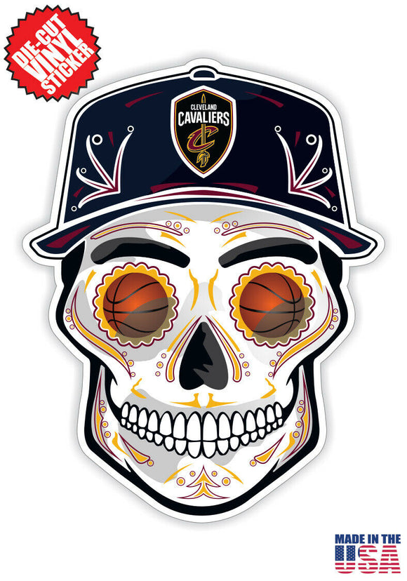 Cleveland Cavaliers Basketball Skull Hat Die Cut Vinyl Decal - 4 Sticker Combo