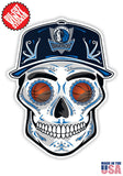Dallas Mavericks Basketball Skull Hat Die Cut Vinyl Decal - 4 Sticker Combo