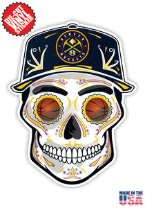 Denver Nuggets Basketball Skull Hat Die Cut Vinyl Decal - 4 Sticker Combo