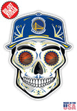 Golden State Warriors Basketball Skull Hat Die Cut Vinyl Decal - 4 Sticker Combo