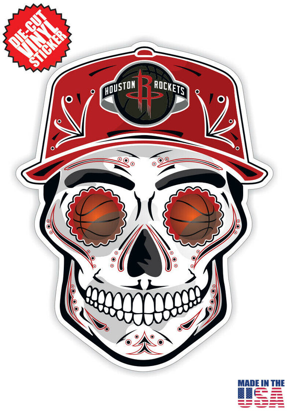 Houston Rockets Basketball Skull Hat Die Cut Vinyl Decal - 4 Sticker Combo