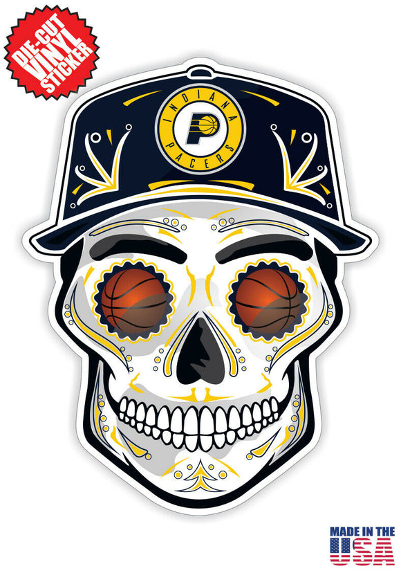 Indiana Pacers Basketball Skull Hat Die Cut Vinyl Decal - 4 Sticker Combo
