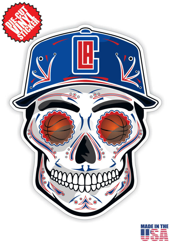Los Angeles Clippers Basketball Skull Hat Die Cut Vinyl Decal - 4 Sticker Combo