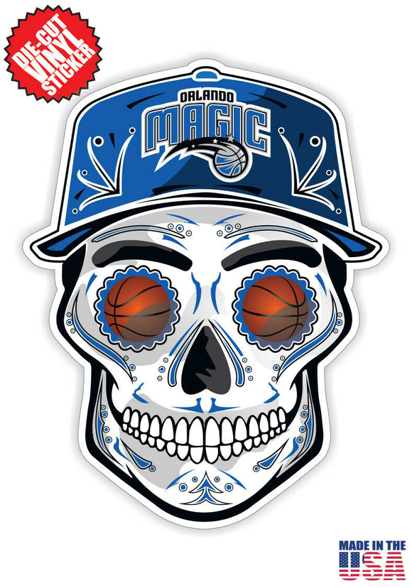 Orlando Magic Basketball Skull Hat Die Cut Vinyl Decal - 4 Sticker Combo