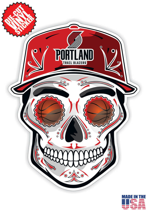 Portland Trail Blazers Basketball Skull Hat Die Cut Vinyl Decal - 4 Sticker Comb