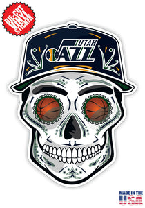 Utah Jazz Basketball Skull Hat Die Cut Vinyl Decal - 4 Sticker Combo