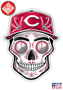 Cincinnati Reds Baseball - Skull Hat Die Cut Vinyl Decal - 4 Sticker Combo Pack