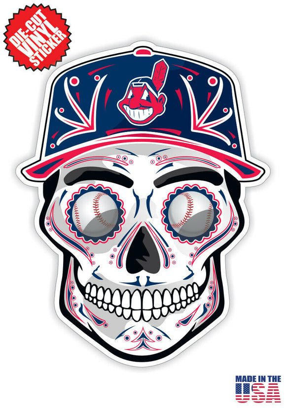 Cleveland Indians Baseball Skull Hat Die Cut Vinyl Decal - 4 Sticker Combo Pack