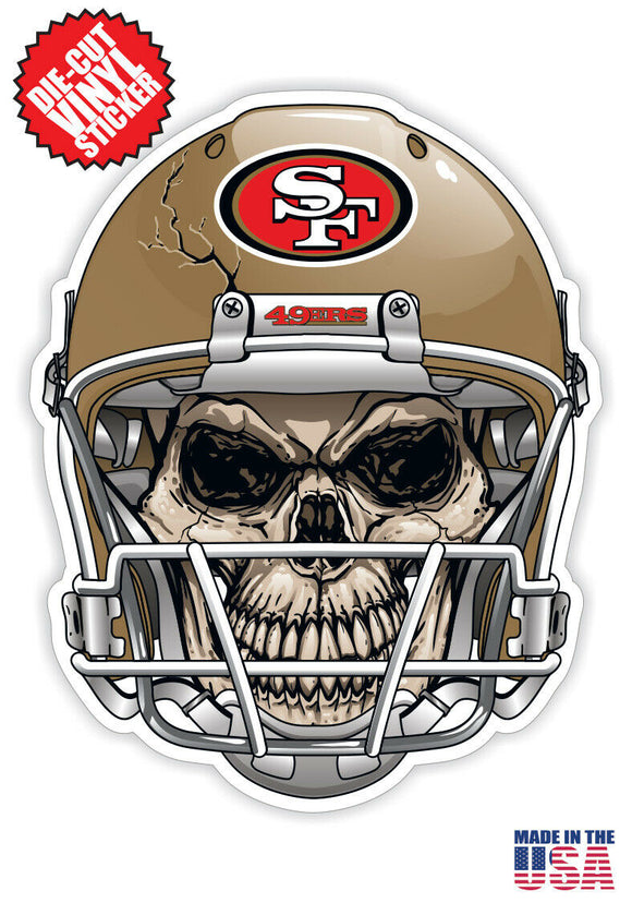 San Francisco 49ers Football Skull Helmet Die Cut Vinyl Decal - 4 Sticker Combo