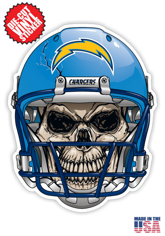 Los Angeles Chargers Football Skull Helmet Die Cut Vinyl Decal - 4 Sticker Combo