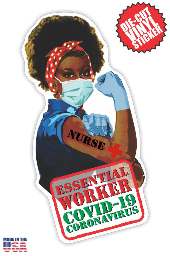 Essential Worker Nurse Sticker in Long Black Hair