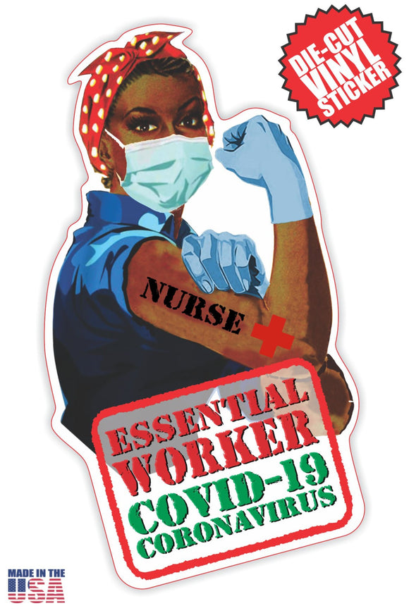 Essential Worker Nurse Sticker in Short Black Hair