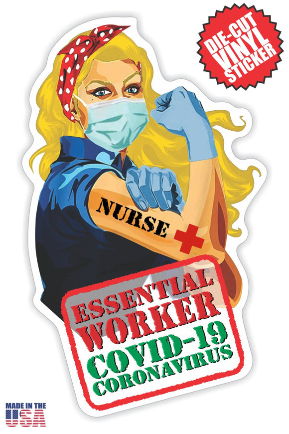 Essential Worker Nurse Sticker in Long Blonde Hair