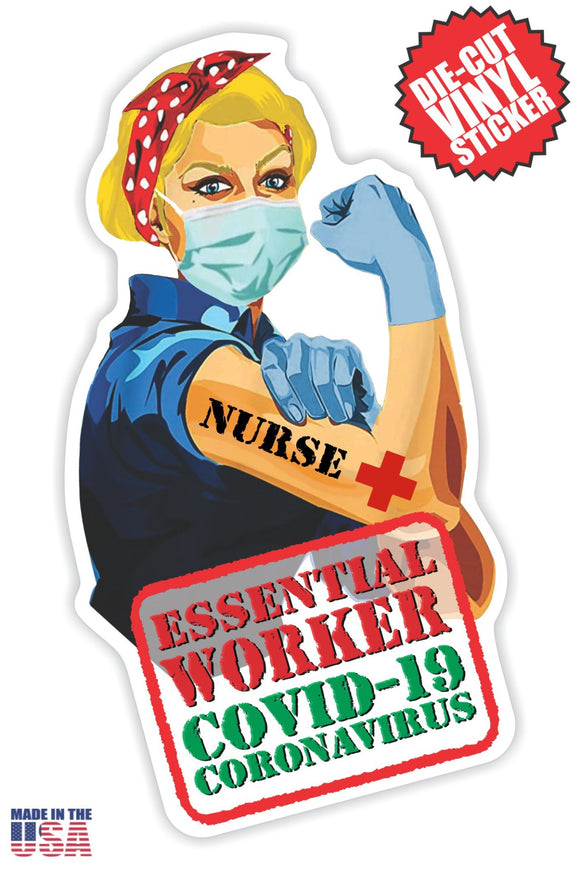 Essential Worker Nurse Sticker in Short Blonde Hair