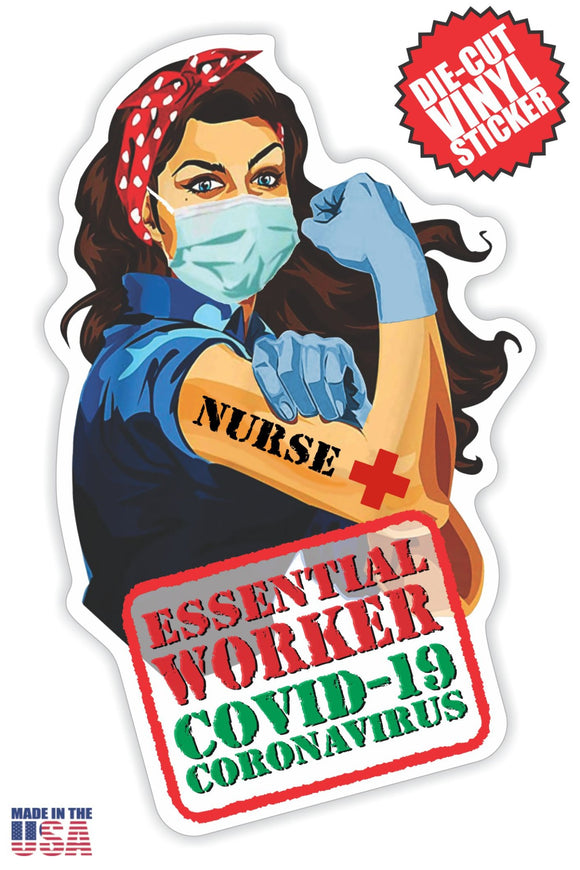 Essential Nurse Sticker in Long Brown Hair