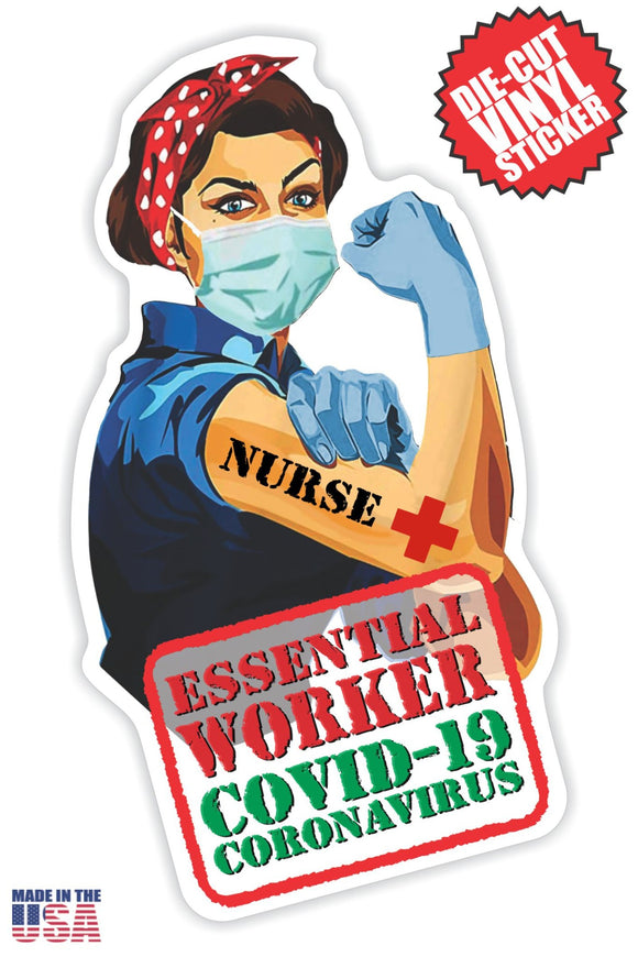 Essential Worker Nurse Sticker in Short Brown Hair
