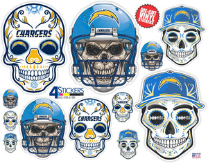 Los Angeles Chargers Football Sticker Sheet - Includes 12 Decals