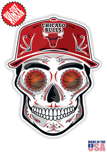 Chicago Bulls Basketball Skull Hat Die Cut Vinyl Decal - 4 Sticker Combo