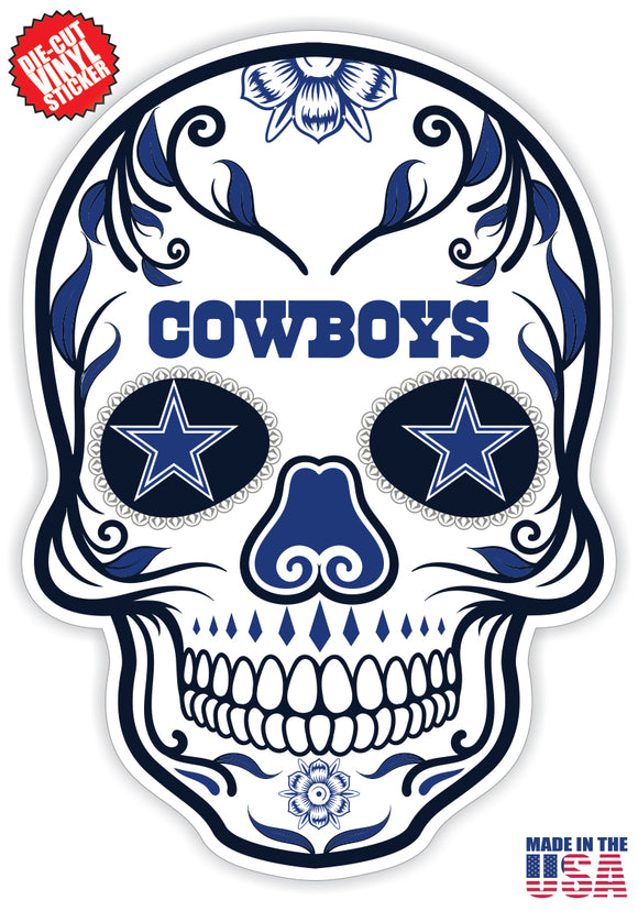 Dallas Cowboys Football Skull Die Cut Vinyl Decal - 4 Sticker Combo Pack