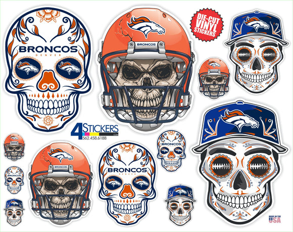 Denver Broncos Football Sticker Sheet - Includes 12 Different Decals