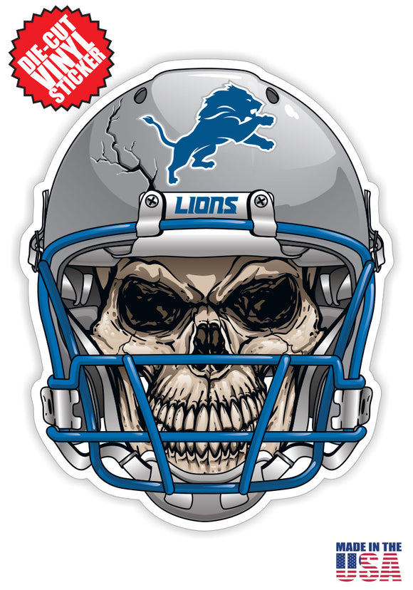 Detroit Lions Skull Helmet NFL Football Sticker