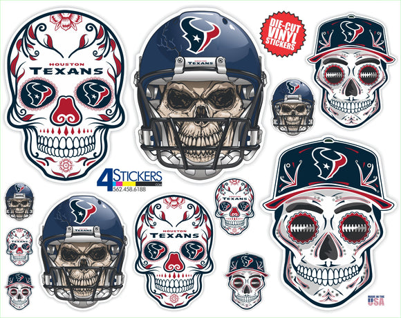 Houston Texans Football Sticker Sheet - Includes 12 Different Decals
