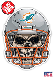 Miami Dolphins Skull Helmet NFL Football Sticker
