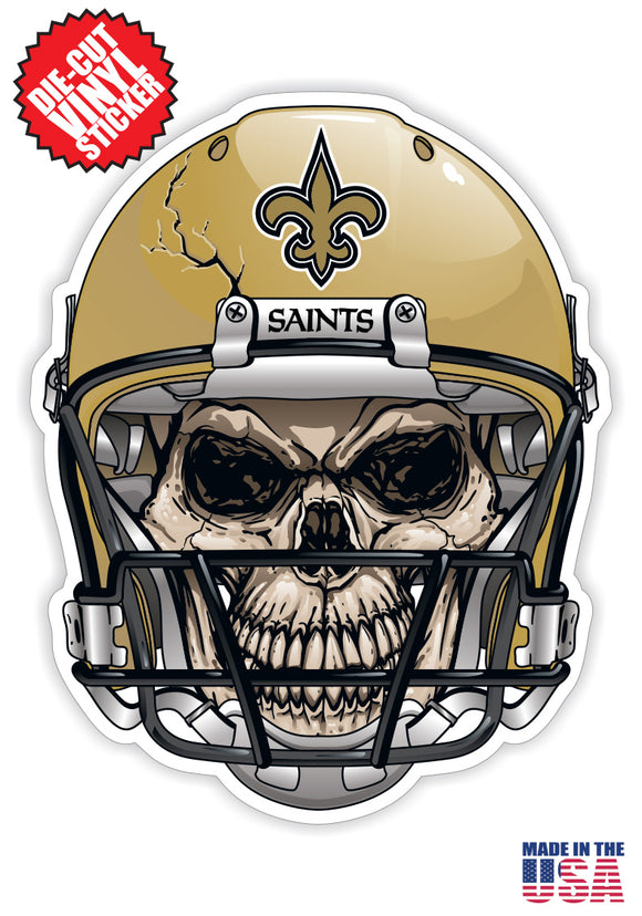 New Orleans Saints Football Skull Helmet Die Cut Vinyl Decal - 4 Sticker Combo