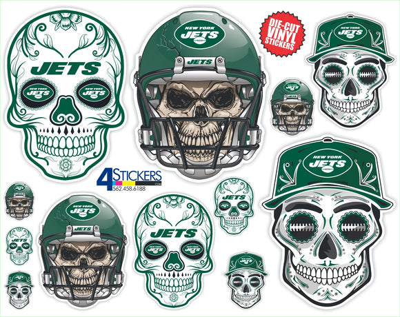 New York Jets Football Sticker Sheet - Includes 12 Different Decals