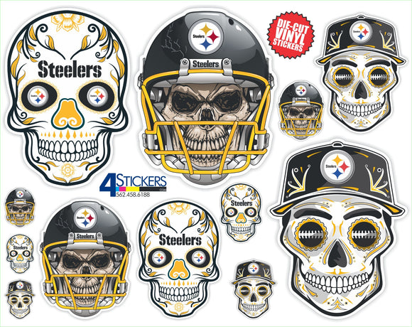 Pittsburgh Steelers Football Sticker Sheet - Includes 12 Different Decals