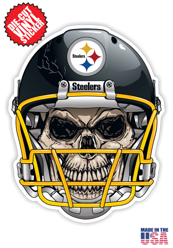 Pittsburgh Steelers Skull Helmet NFL Football Sticker