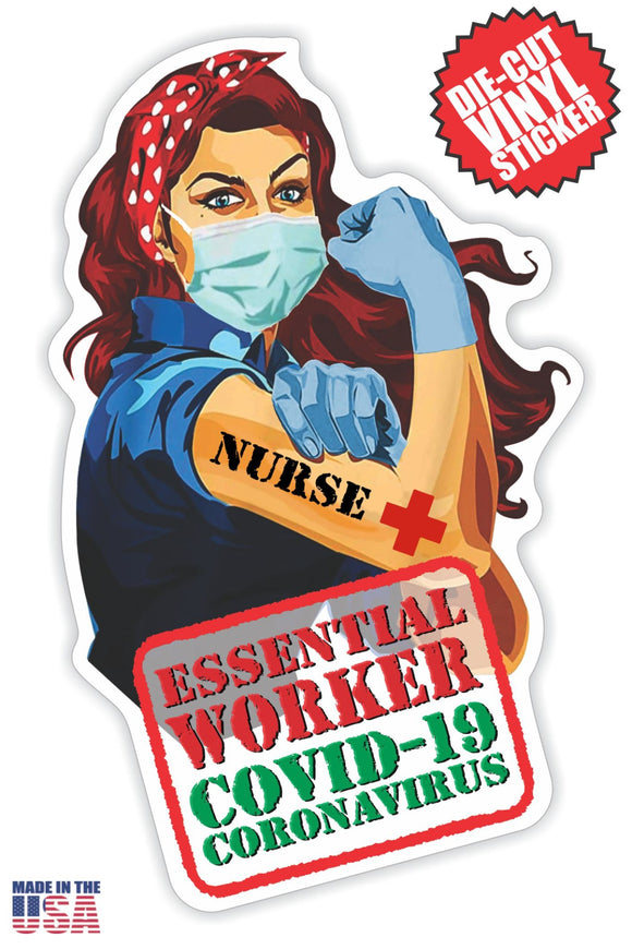 Essential Worker Nurse Sticker in Long Red Hair