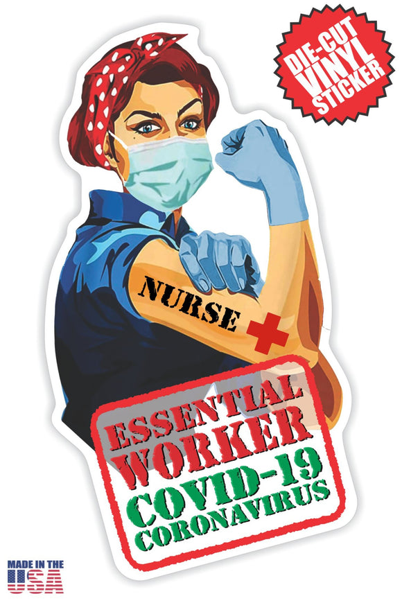 Essential Worker Nurse Sticker in Short Red Hair