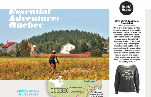 A page from Explore Magazine featuring our women's boat-neck sweater.