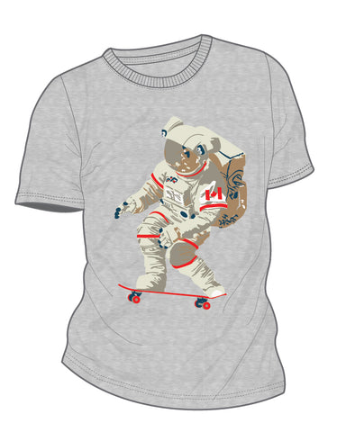 Boys Grey Mix Skateboarding Astronaut T-shirt