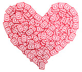 A heart shape made up of 60°N 95°W icon patches.