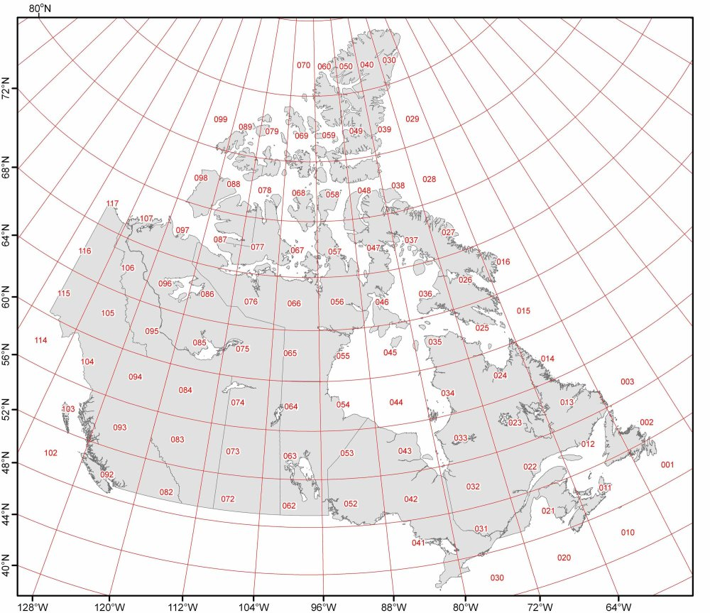 Map of Canada with numerous latitude and longitude degrees
