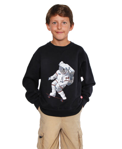 Official Chris Hadfield Skateboarding Astronaut Boy's Crewneck Sweater (Midnight)