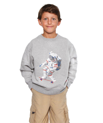 Official Chris Hadfield Skateboarding Astronaut Boy's Crewneck Sweater (Grey Mix)