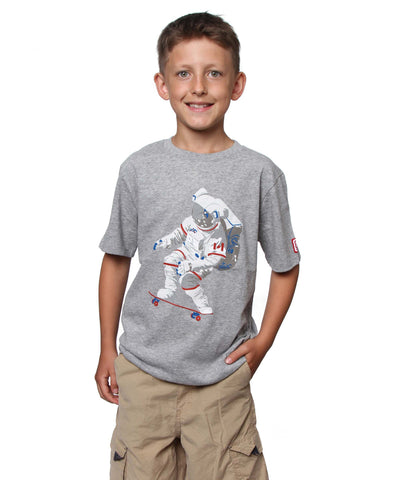 Official Chris Hadfield Skateboarding Astronaut Boy's T-shirt (Grey Mix)