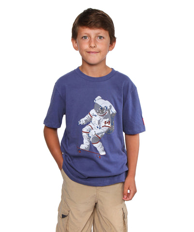 Official Chris Hadfield Skateboarding Astronaut Boy's T-shirt (Royal)