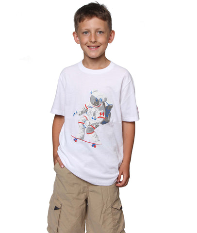 Official Chris Hadfield Skateboarding Astronaut Boy's T-shirt (White)