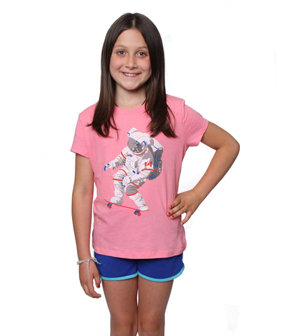 Official Chris Hadfield Skateboarding Astronaut Girls T-shirt (Pink)