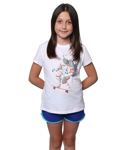 Official Chris Hadfield Skateboarding Astronaut Girls T-shirt (White)