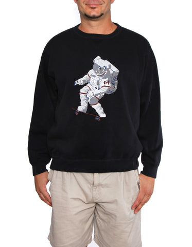 Official Chris Hadfield Skateboarding Astronaut Men's Crewneck Sweater (Midnight)